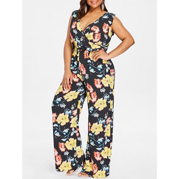 cc3a136bfed Plus Size Floral Low Cut Jumpsuit - Black